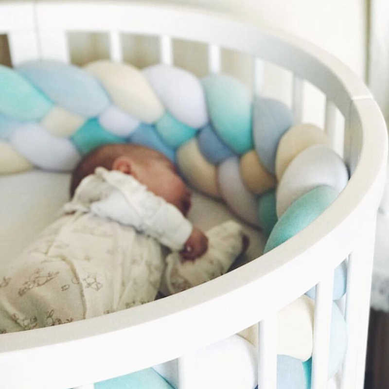 2.2M bébé pare-chocs 4 attaché Kont lit tresse noeud oreiller coussin pare-chocs pour bébé Bebe berceau protecteur lit pare-chocs chambre décor