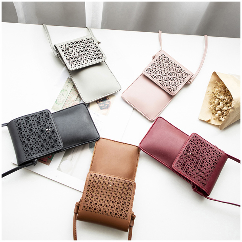 Phander Touchable PU Leather Change Bag Hollow Out Designed Touch Screen Cell Phone Purse Smartphone Wallet Coin Crossbody Bags|Top-Handle Bags|   - AliExpress