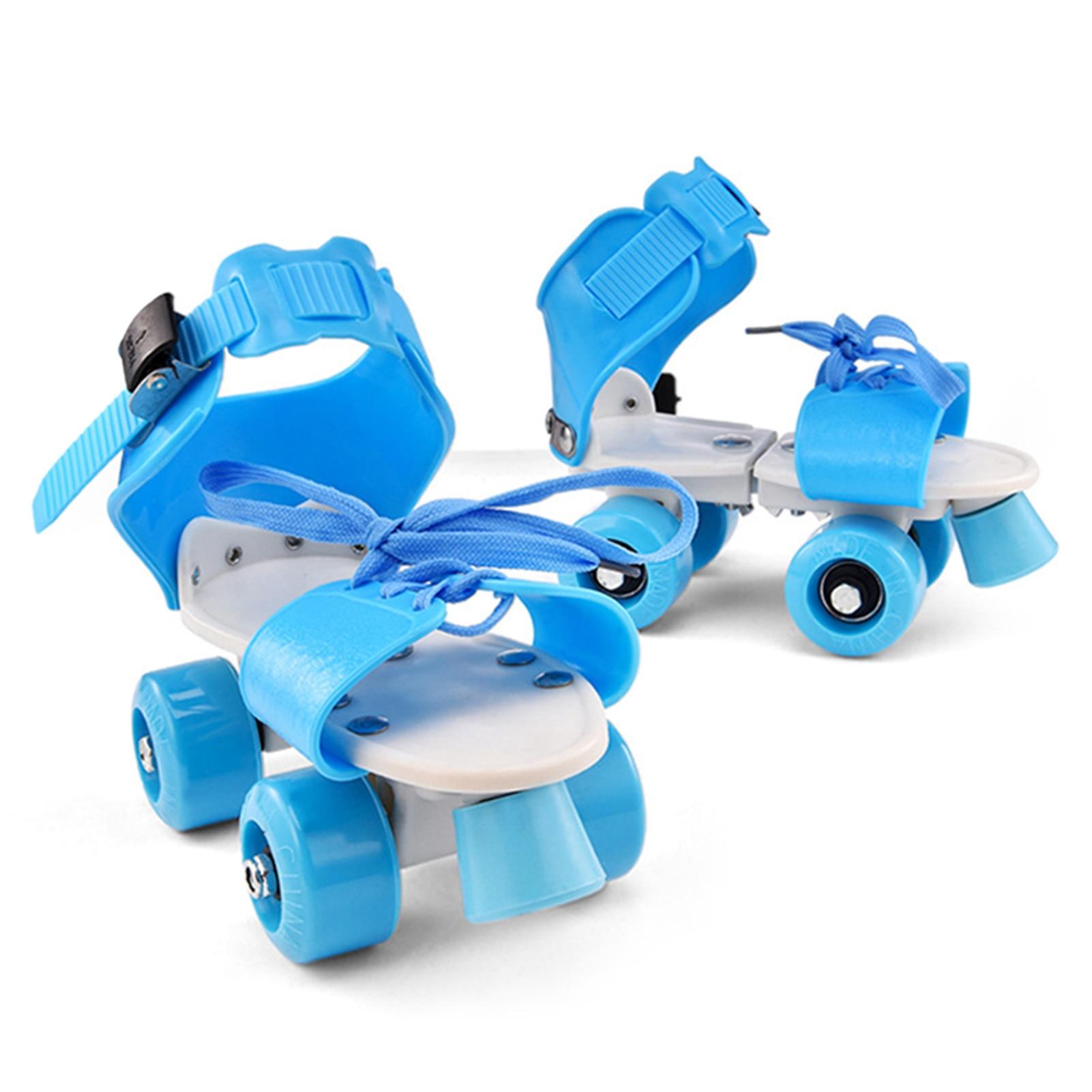 Adjustable Size Children Roller Skates Double Row Skates Skating Shoes Double Wheels Skates for Beginners Girls Boys
