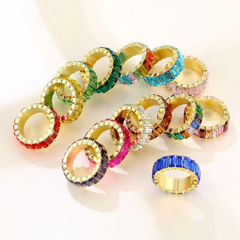 Lost леди летнее платье-пачка цветов радуги для циркон кольца шириной для женщин INS Мода для девочек кольца с настоящими австрийскими Кристал...