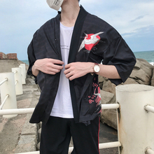 Casual Style Men Print Short Sleeve Summer Autumn Loose Kimono Jackets Cardigan Tops Sunscreen Coat Black
