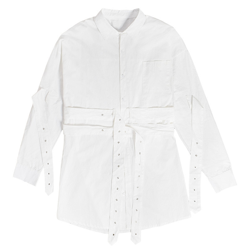 Kpop Shirt Long Belt White Spring Autumn Clothes Fashion Blouse Coats Cotton Unisex Tees Tops