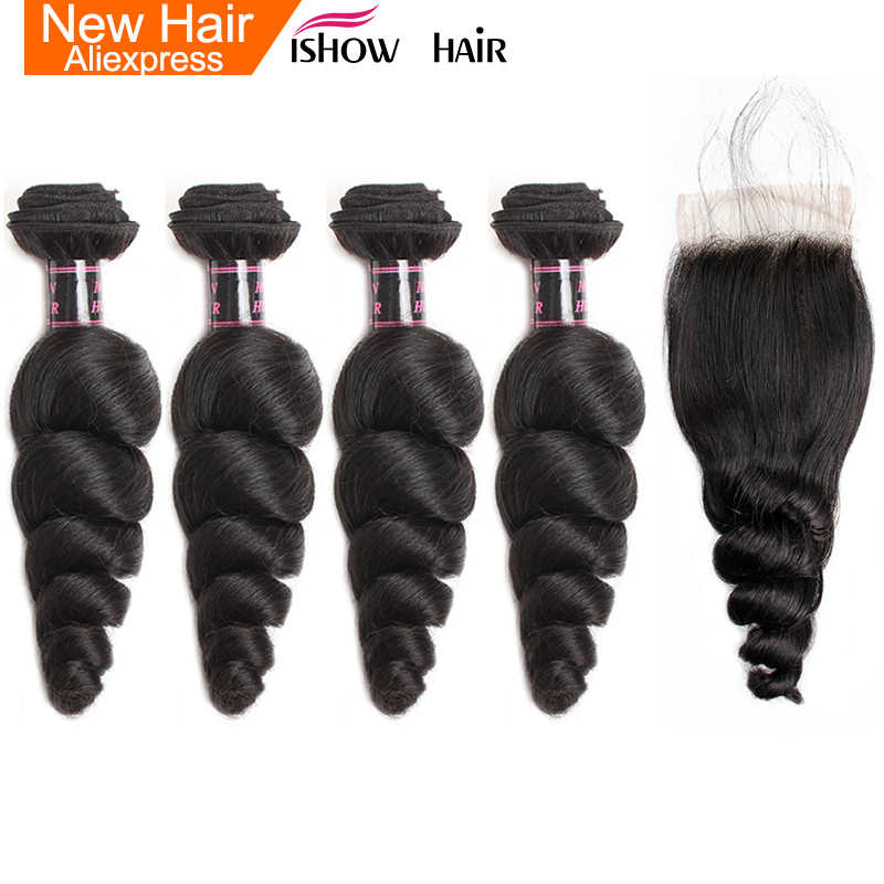 Ishow Indian Loose Wave Hair Bundles With Lace Closure Middle Part Non Remy Human Hair 4 Bundles With Closure With Baby Hair