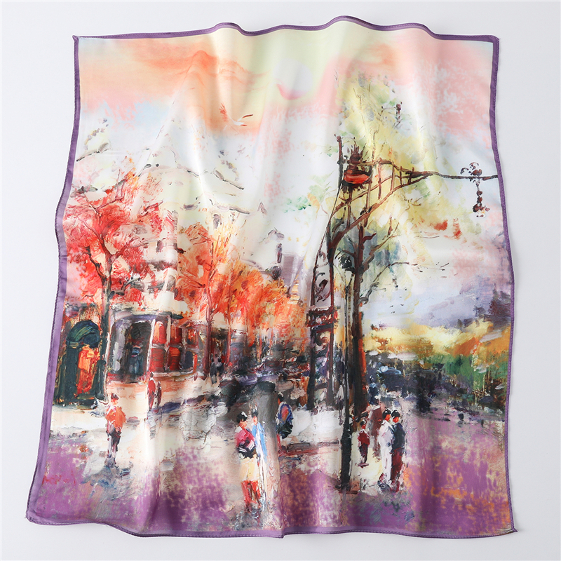 Women Scarves Silk Neck Wraps Head Band Accessories Bag Tie Lady Foulard Print Square Scarf Kerchief Hair Bandana