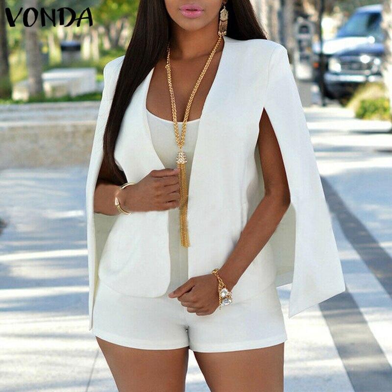Winter Autumn Jackets Women Blazer VONDA 2020 Casual Split Sleeve Coat Party Jackets Office Lady Cape Female Cardigans Plus Size