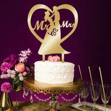 Акриловые золотые топперы для свадебного торта, вставляемые украшения для торта, Mr Mrs, невеста, жених, свадьба, помолвка, юбилей, вечерние
