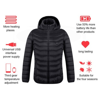 Electric Heated Jackets Vest Down Cotton Outdoor Coat USB Electric Heating Hooded Winter Thermal Warmer Jackets Winter Outdoor 2