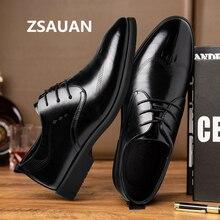 ZSAUAN Brand Men Leather Dress Shoes New British Oxford Men Flats Business Wedding Formal Shoes Classic Black Men Shoes