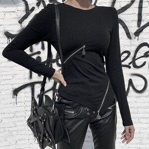 Image 3 - מוצק צבע סדיר רוכסן למעלה לנשים של כהה סתיו/חורף ארוך שרוול