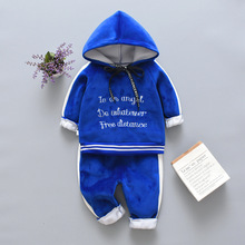 цена на Toddlers Winter Girls Baby Boys Kids Clothing Suit Children Thick Warm Hooded Pants 2Pcs/Sets Children Plus Velvet Tracksuit