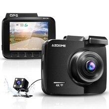 كاميرا سيارة azdomgs63h داشكام بعدسة مزدوجة 4K مدمجة بنظام تحديد المواقع واي فاي كاميرا أمامية وخلفية داش G الاستشعار كشف الحركة