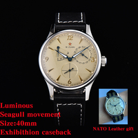 MEN WATCH 40MM 1963 AUTOMATIC WATCH SEAGULL MOVEMENT ST1780 AUTOMATIC MECHANICAL PILOT WATCH Army Original  AIR FORCE