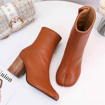 цена на Women Split Toe Genuine Leather Cow Leather Ankle Boots Round Heels Lady Shoes Woman High Heels Boots Ninja Tabi Boots