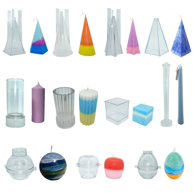 MILIVIXAY 1Pcs Cone/Cylinder/Pillar/Pyramid Transparent Plastic Candle Mold Handmade Soap Mold DIY Candle Making Supplies