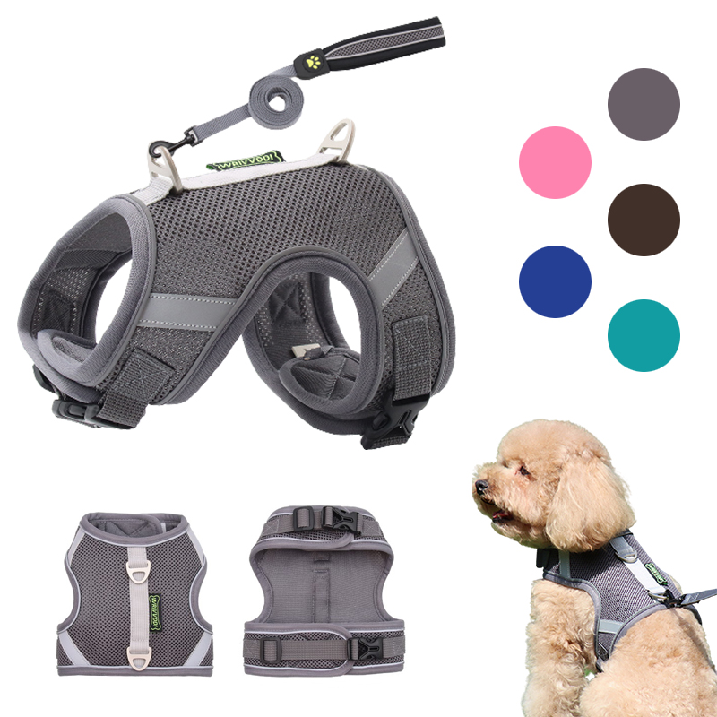 Dog Harness Vest With Lead Leash Small Medium Dogs Cats Reflective Breathable Mesh Pet Vest for French Bulldog Chihuahua