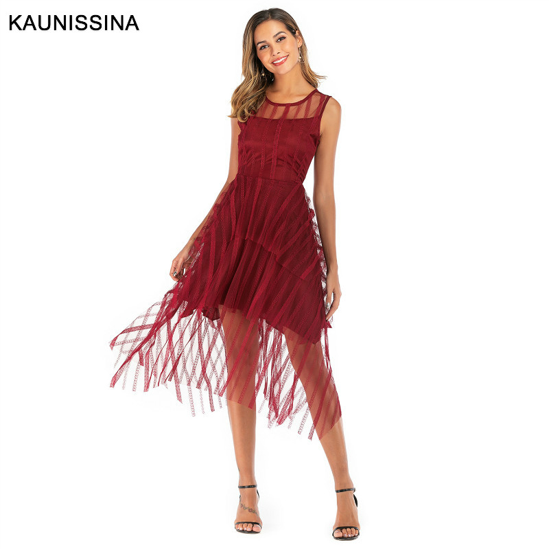 KAUNISSINA Robe De Soiree Fashion A Line Cocktail Dress Sexy Lace Party Gowns Sleeveless Lace Tassel Graduation Prom Dresses