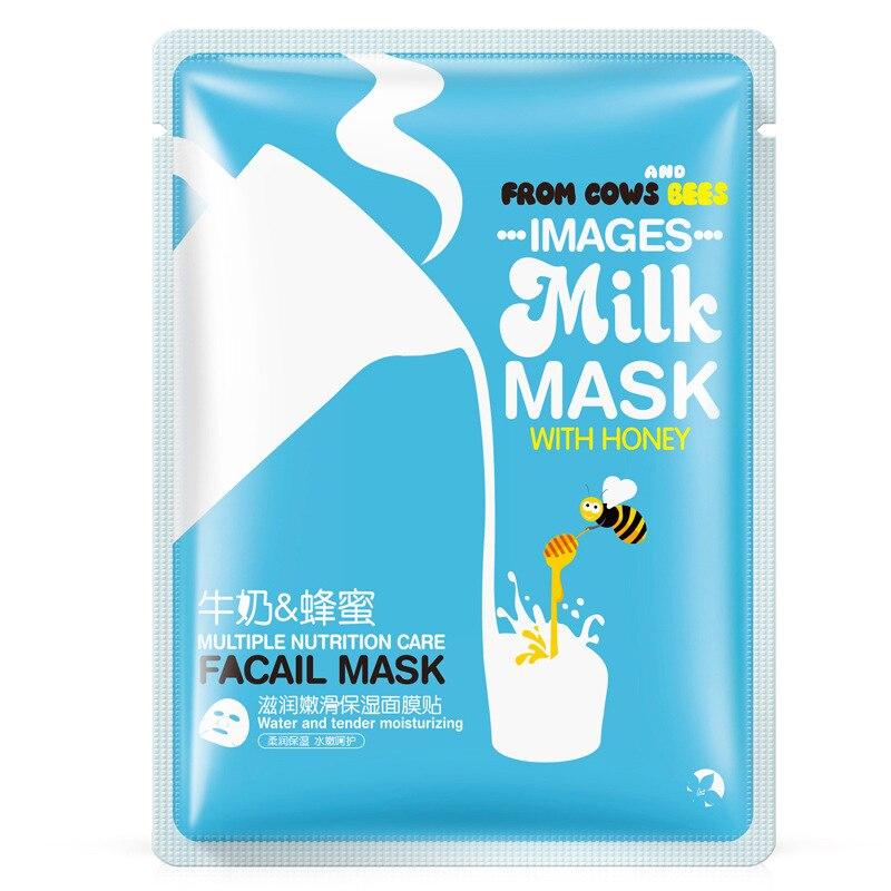 Images Moisturizing Shrink Pores Honey Milk Essence Facial Mask Whitening Depth Replenishment Face Masks Skin Care Korean