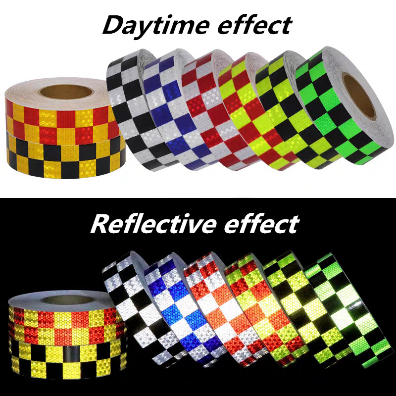 5cm*3m Car Arrow Lattice Reflective Tape Decoration Strip Safety Mark Warning reflectante Stickers For Car Exterior Accessories