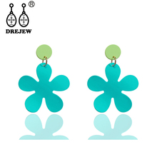 DREJEW Blue Yellow Orange Pink Flower Acrylic Alloy Statement Earrings Christmas Drop for Women Wedding Jewelry HE1051