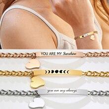 Customized ID Bracelet for Women, Stainless Steel Heart Bracelet,engraved Personalized Frienship Valentine