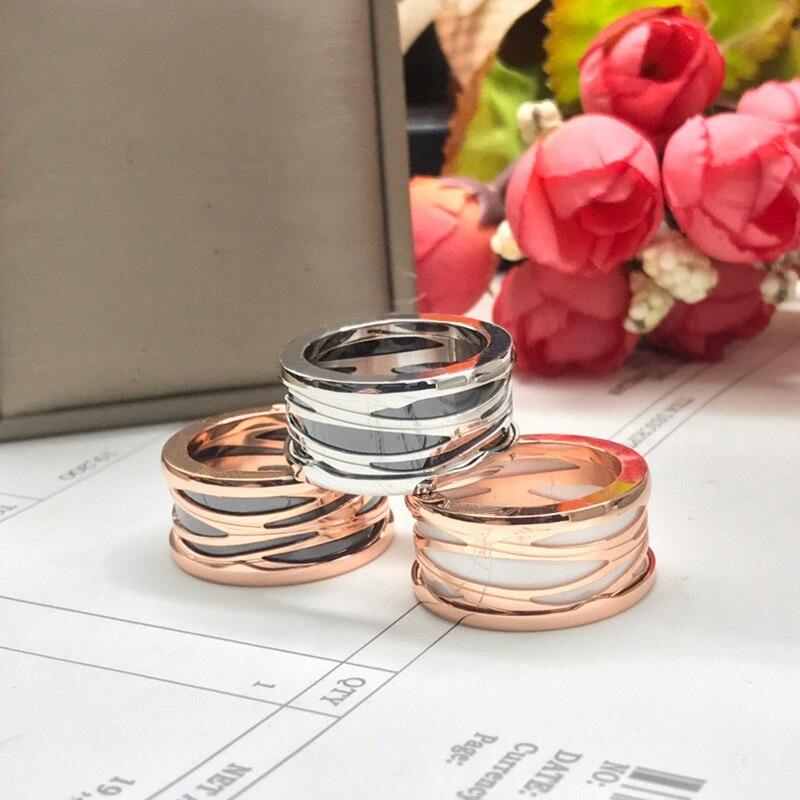 Кольца из розового золота, белые и черные керамические кольца из таниевой стали, весенние обручальные кольца для пар