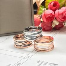 Anéis de ouro rosa branco preto cerâmico ttanium anel de aço primavera casamento anel casais