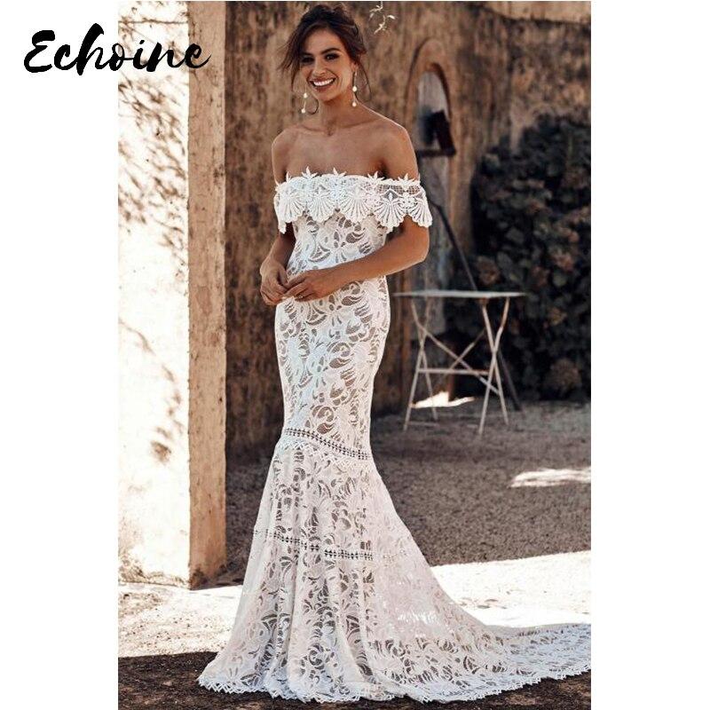 Echoine White Slash Neck Off Shoulder Short Sleeve Ruffled Overlay Bridal Party Gown Long Mermaid Dresses Plus Size for Women