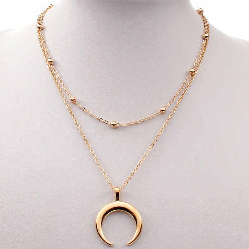 Boho כסף זהב חרוזים לווין שרשרת קולר שרשרת נשים ירח שרשרת & תליון סהר תכשיטי צווארון מדיה לונה
