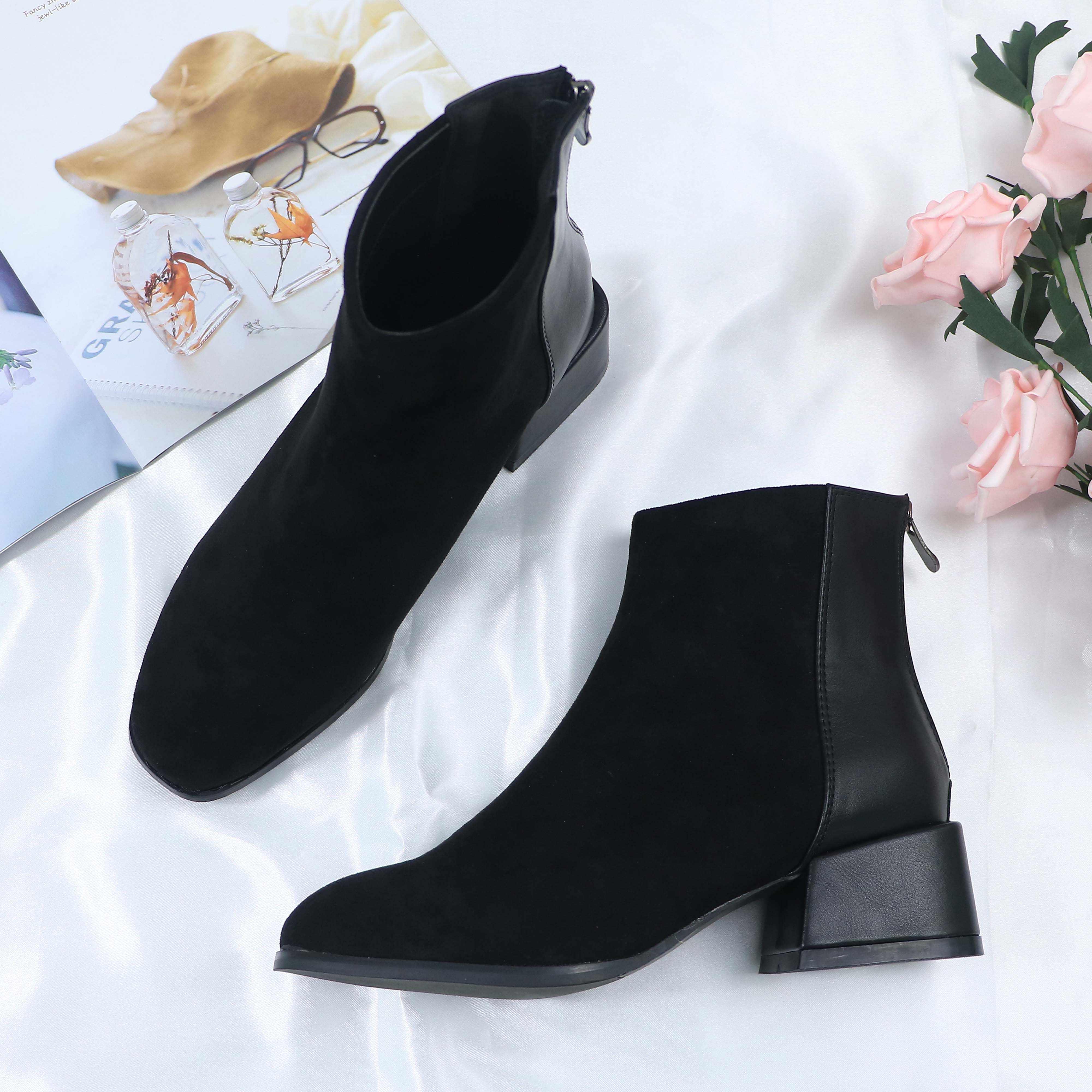 Roni Bouker Faux süet yarım çizmeler kadın tıknaz topuklu peluş ayakkabı kadın şık ayakkabı bayan kahverengi çikolata çizme ботинки женские