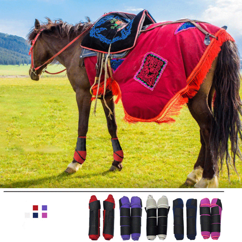 1 Pair Equestrian Riding Outdoor Shock Absorbing Washable Horse Magic Sticker Leg Guards Protective Gear Soft High Elastic Cloth