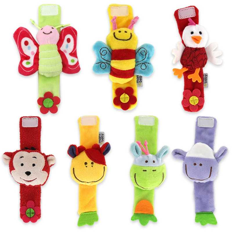 Kawaii Baby Toys Plush Wrist Rattle Bed Stroller Cute Cartoon Animal Newborn Educational Toy For Children Crib Hand Rattles 1pcs