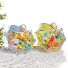 12 adet Mini plastik şemsiye şekilli düğün şeker kutusu parti iyilik bebek duş dekorasyonu hediye