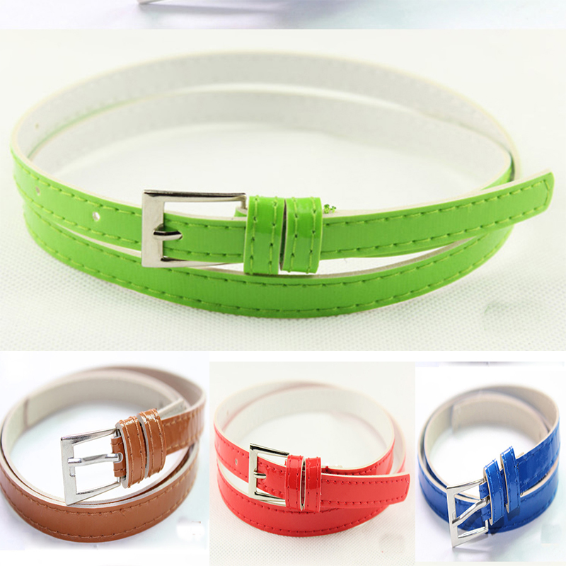 Fashion Thin Belt Candy Colours Strap Faux Leather Belt Waistband For Ladies Dress Shirt Wearing Apparel Accessories