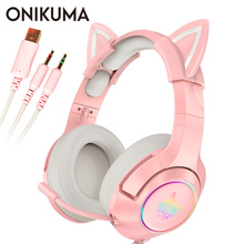 Pink Cat Ear Headset Girls casque Wired Stereo Gaming Headphones with Mic & LED Light for Laptop/ PS4/Xbox One Controller