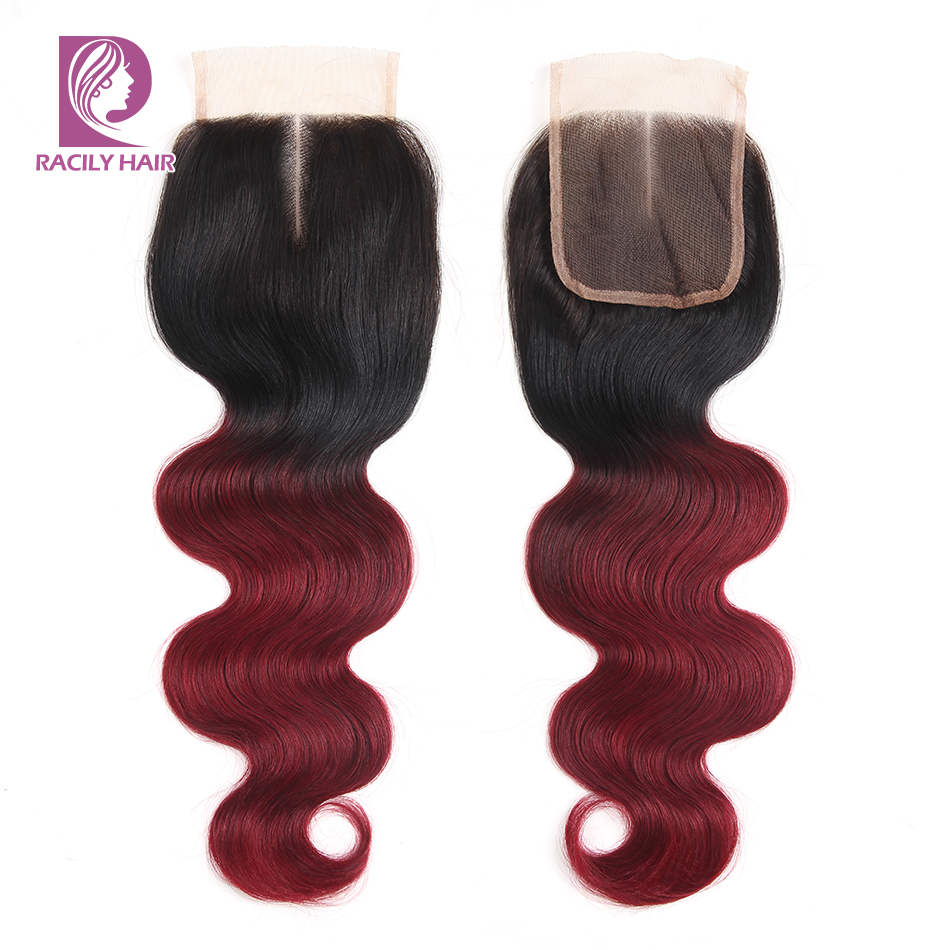 Racily Hair 99J Ombre Brazilian Body Wave Lace Closure T1B/Burgundy Remy Human Hair Lace Closure 4x4 Lace Closure With Baby Hair