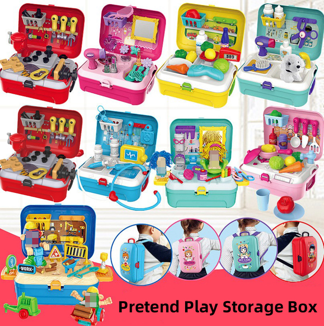 Fruits Car Tool Doctor Makeup Fashion Beauty Toys Pretend Play for Kids Backpack Juguetes Girls Xmas Gift Storage Box