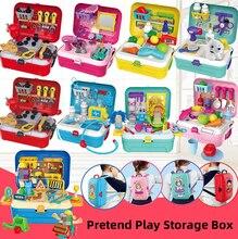 Meyve araba aracı doktor makyaj moda güzellik oyuncaklar oyna Pretend çocuklar sırt çantası için Juguetes kızlar noel hediye saklama kutusu