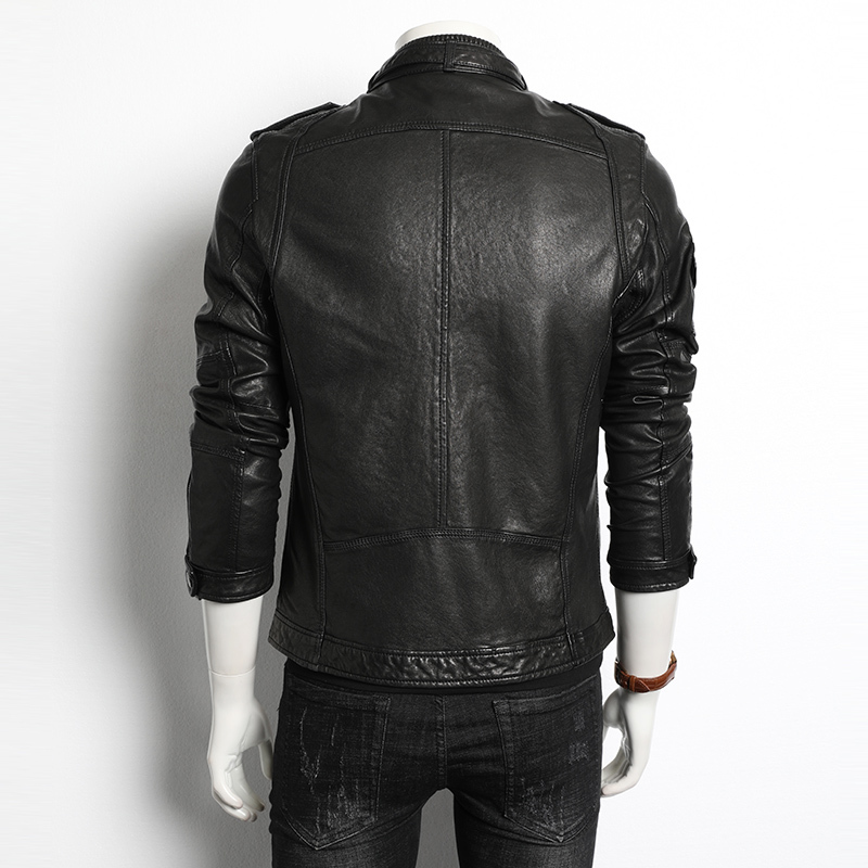 Sheepskin Coat Genuine Leather Jacket Men Spring Autumn Biker Motorcycle Jacket Chaqueta Cuero Hombre 188008 KJ4031