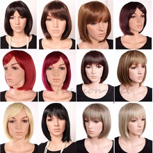 12 Inch Short Straight BOB Wigs Women's Heat Resistant Synthetic Wig black brown red 11 Colors women short wig