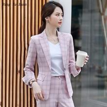 2020 Womens Formal Pants Suit for Work Women 2 Piece Office Suits Slim Blazer with Pants Elegant Pink Grey Plaid Pantsuit Woman