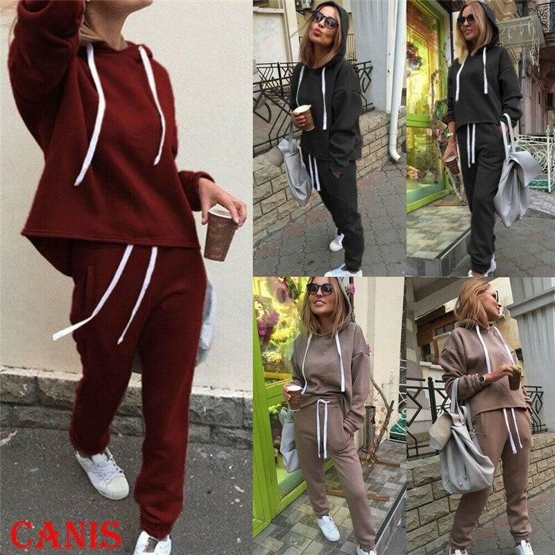 Women 2PCS Tracksuit Long Sleeve Loose Causal Hoodies Sweatshirt Tops High Waist Long Pants Fashion 2019 New Suits Sport Wear