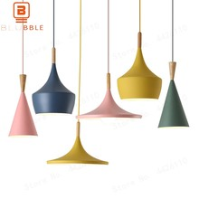 BLUBBLE Art ABC Colorful Musical Pendant Lights American Pendant Lamp Blue/Yellow/Green/Pink Restaurant LED Hanglamp(China)