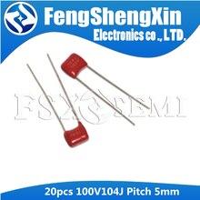 20 шт., конденсатор CL21 100V104J Pitch 5 мм CBB из полипропиленовой пленки 100NF 0,1 мкФ 100V 104