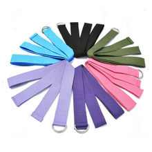 New Multi-Colors Women Yoga Stretch Strap D-Ring Belt Fitness Exercise Gym Rope Figure Waist Leg Resistance Fitness Bands Cotton(China)