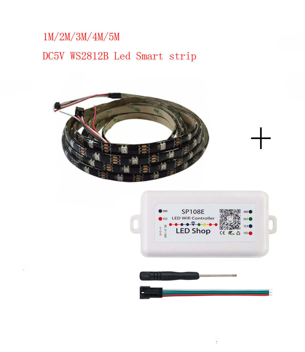 1-5m DC5V <font><b>WS2812B</b></font> Led Strip 30 pixels/leds/m WS2812 IC Smart <font><b>5050</b></font> <font><b>RGB</b></font> led Strip light+ LED Controller image