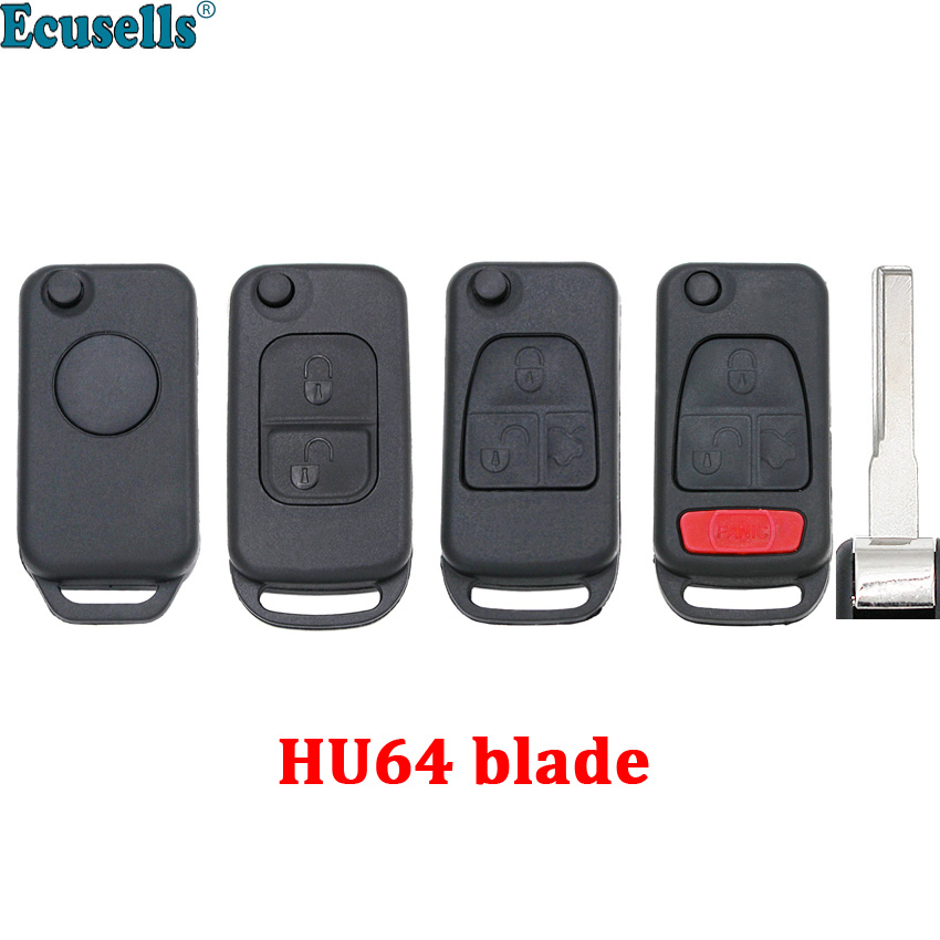 1/2/3/4 buttons Replacement Flip Folding <font><b>Remote</b></font> Car <font><b>Key</b></font> Shell For Mercedes-Benz W168 <font><b>W124</b></font> W202 1984-2004 A C E HU64 UNCUT BLADE image