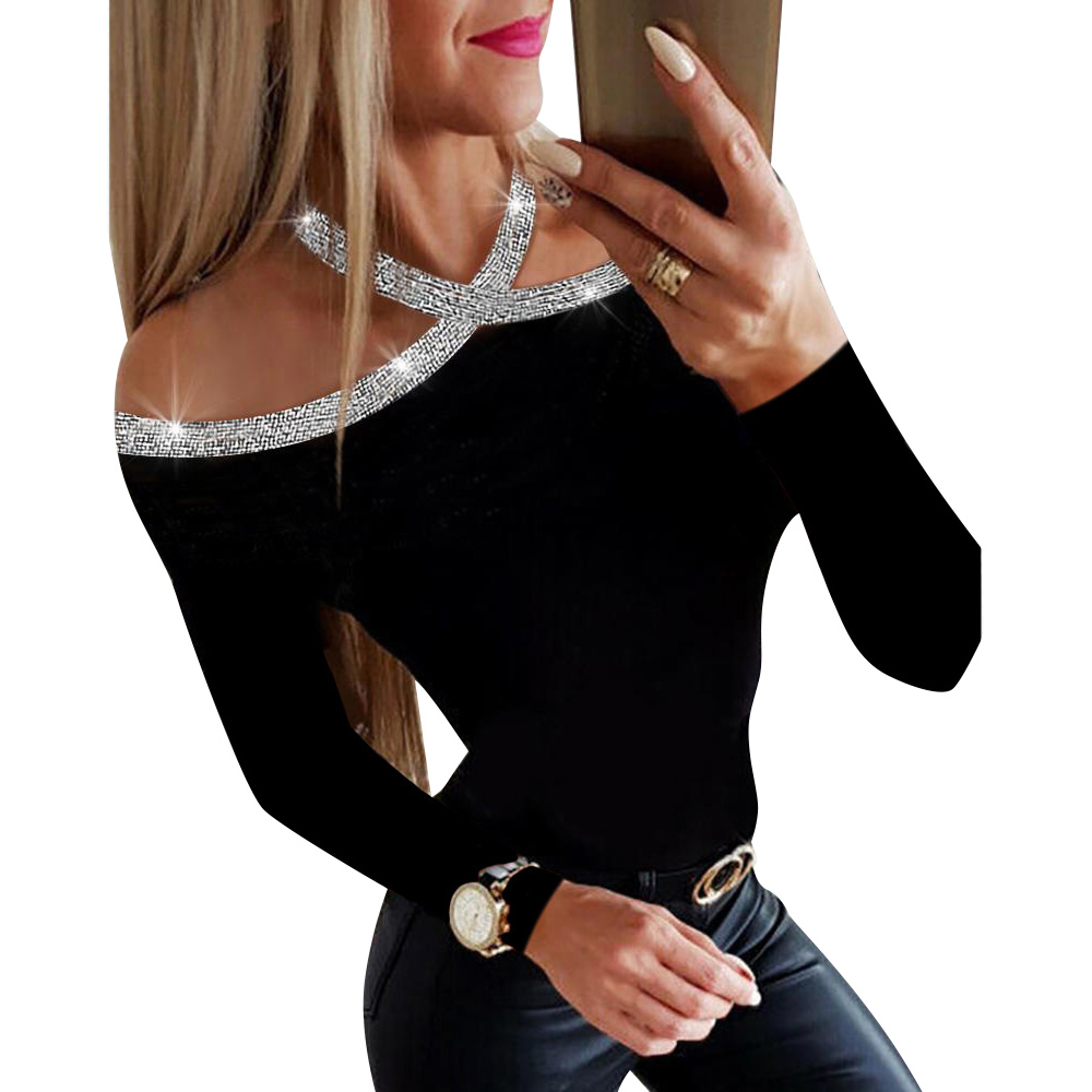 Long Sleeve Shirt Blouse Tops For Women Autumn Drilling Black Lady Blouses And Tops Hollow Out Female Tee Shirts Camicette D30