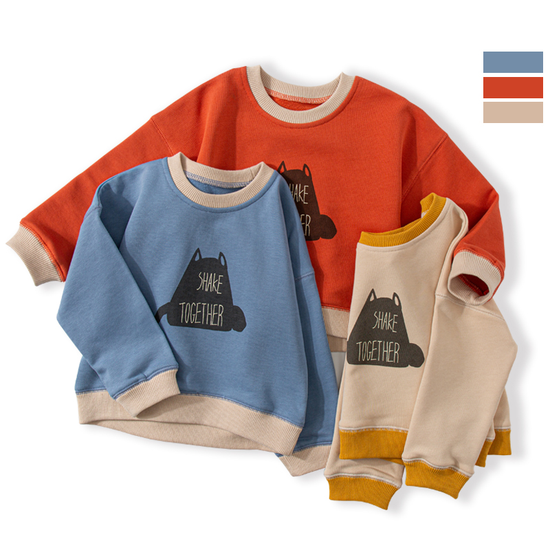 Children's Single-layer Warm Sweater Autumn And Winter Western Style Print Pullover Boys And Girls Baby Fashion Base Coat Tide