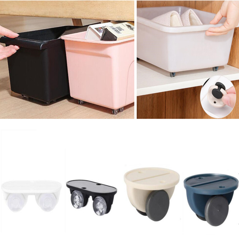 4pcs Newest Adhesive Pulley Rollers for drawer Storage Box Trash Can Casters Silent Directional Wheel Furniture Hardware-0