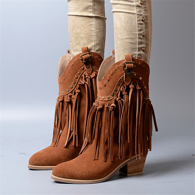 Brown Fringed Women Chunky High Heel Boots Suede Slip On Women Rivets Studded Rubber Boot Platform Autumn Winter Botas